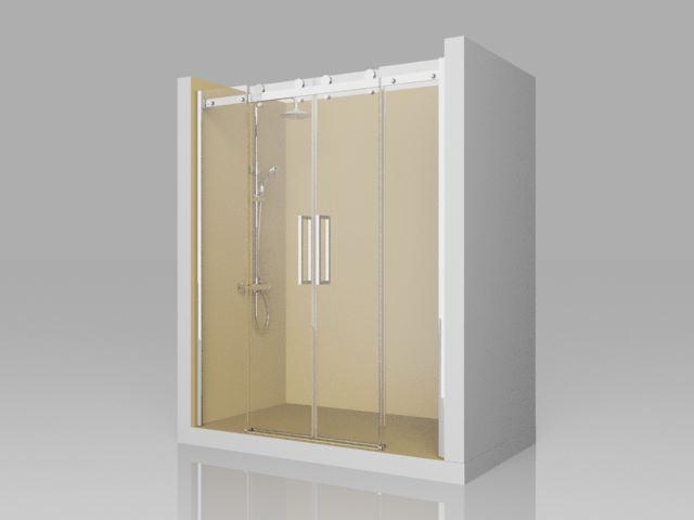 Mamparas Para Baño Sensi Dacqua:LI100 – frente de ducha 2 fijos + 2 puertas correderas